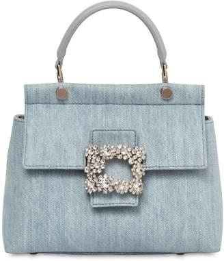 Roger Vivier Mini Viv Cabas Embellished Denim Bag