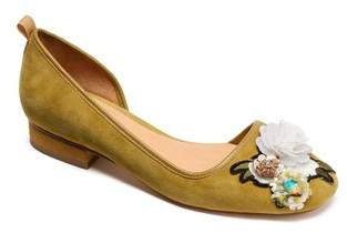 Bill Blass Lola Flower Embellished Half d'Orsay Flat