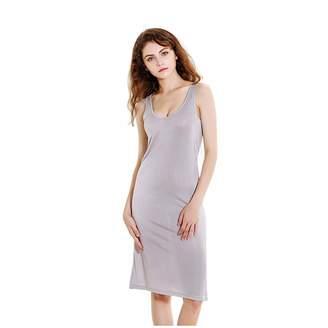 67b6cff88c0ba Mulberry Funme Women Silk V-Neck Full Slip Nightgowns Sleeveless Elegant  Sleep Dress