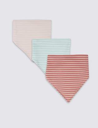 Marks and Spencer 3 Pack Pure Cotton Striped Dribble Bibs