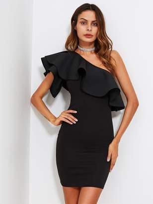Shein One Shoulder Flounce Form Fitting Dress