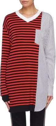 Sonia Rykiel Patch pocket shirt panel stripe top
