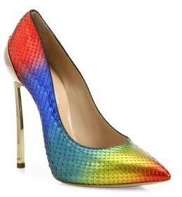 Casadei Rainbow Python Point Toe Pumps $1,250 thestylecure.com