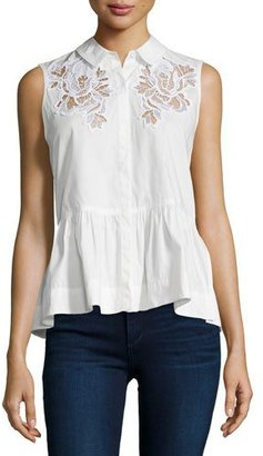 Rebecca Taylor Embroidered Sleeveless Peplum Top $295 thestylecure.com