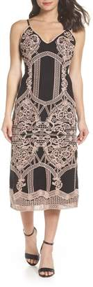 Foxiedox Embroidered V-Neck Tea Length Dress