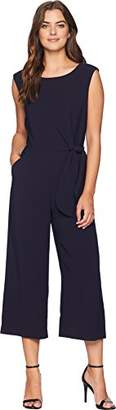 Tahari by Arthur S. Levine Women's Sleeveless Crepe Jumpsuit with Side Tie at Hip