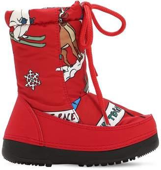 Dolce & Gabbana Skiing Designers Print Nylon Snow Boots