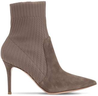Gianvito Rossi 85mm Rib Knit & Suede Ankle Boots