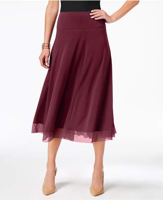 JM Collection Petite Mesh-Hem A-Line Skirt