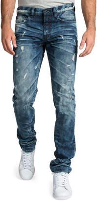 PRPS Men's Le Sabre Distressed Dark-Wash Jeans with Abrasions