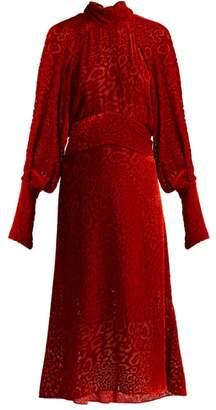 Petar Petrov Daphne Tie Neck Devore Dress - Womens - Red Multi