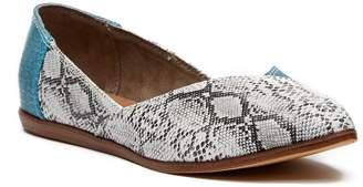 Toms Jutti Turquoise Snake Print Leather Flat