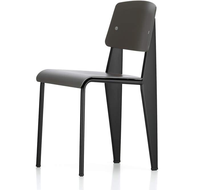 Prouvé Standard SP chair, Schwarz / basalt, Filzgleiter Schwarz (Hartboden)