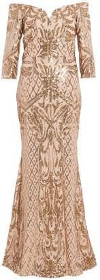 Quiz Gold Sequin Bardot Maxi Dress