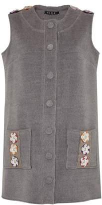Manley - Tabby Leather Embellished Cashmere Coat Dress Grey