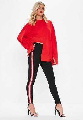 Missguided High Waisted Popper Side Stripe Jeans