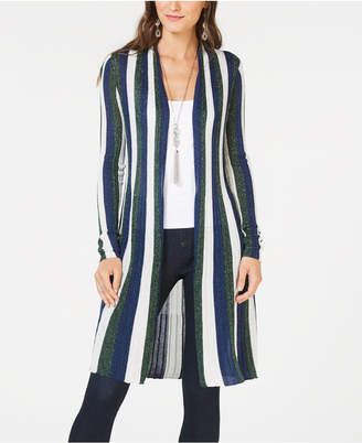 INC International Concepts I.n.c. Striped Metallic Duster Cardigan, Created for Macy's