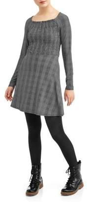 Derek Heart Juniors' Smocked Bodice Square Neck Skater Dress