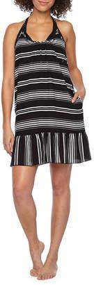 Porto Cruz Stripe Crepe Swimsuit Cover-Up Dress