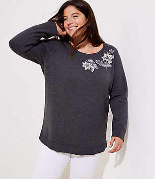 LOFT Plus Floral Embroidered Sweater