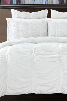 California Design Den by NMK Ruffled Handcrafted Cotton Duvet Cover Set - Bright White