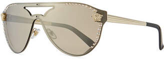 Versace Mirrored Crystal-Studded Aviator Sunglasses