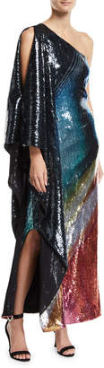 Mary Katrantzou One-Shoulder Marbled Sequin Gown