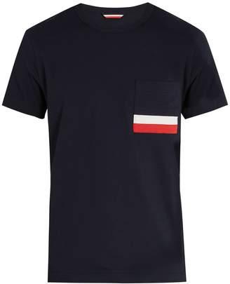 Moncler Stripe-appliqué patch-pocket cotton-jersey T-shirt