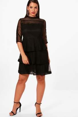 boohoo Plus Frill Lace Detail Skater Dress