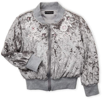 Kate Mack For Biscotti (Girls 4-6x) Grey Velour Zip Jacket