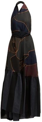 Binetti Love Halterneck Cotton Maxi Dress - Womens - Black Multi