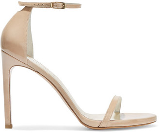 Stuart Weitzman - Nudistsong Patent-leather Sandals - Beige $400 thestylecure.com