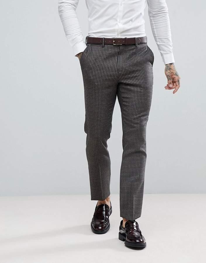 Asos Wedding Slim Suit Pants 100% Wool Houndstooth In Putty