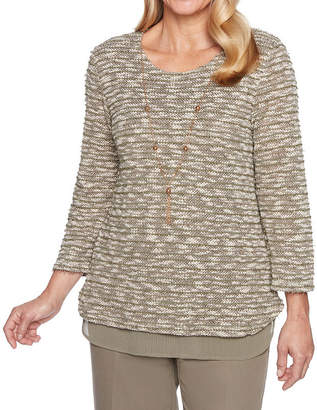 Alfred Dunner Autumn In New York 3/4 Sleeve Layered Top