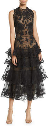 Oscar de la Renta Sleeveless Floral-Embroidered Tiered Tulle Evening Gown w/ Open Back