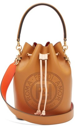 Fendi Mon Tresor Perforated Logo Leather Bucket Bag - Womens - Tan Multi