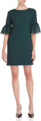 Karl Lagerfeld Pine Green Lace Bell Sleeve Dress