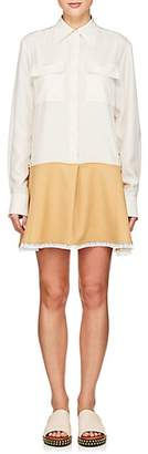 Chloé Women's Lace-Trimmed Silk Shirtdress - Ivory