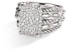 David Yurman Tides Sterling Silver& Diamond Cable Ring