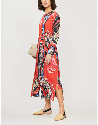 Pleats Please Issey Miyake Flame-print pleated dress