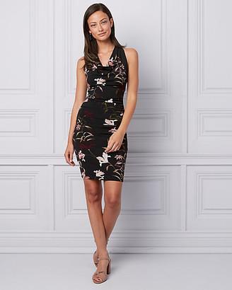 Le Château Floral Print Knit Cowl Neck Dress