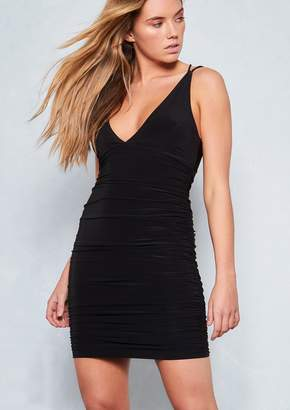 Missy Empire Missyempire Phoenix Black Ruched Cross Back Slinky Bodycon  Dress a98e9fb8b