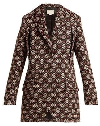Gucci Gg Jacquard Single Breasted Blazer - Womens - Black Multi