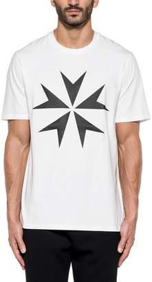 Neil Barrett White Printed Military Star Cotton Jersey T-shirt