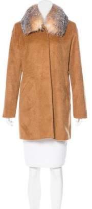 Sofia Cashmere Cashmere Fur-Trimmed Coat