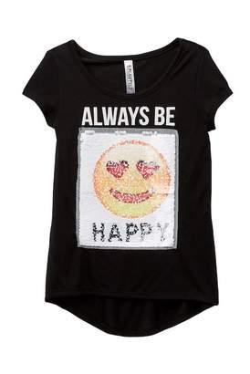 Beautees Reversible Sequin Always Be Happy Tee (Big Girls)