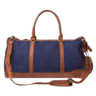 MAHI Leather - Canvas Leather Columbus Holdall Bag In Navy Blue