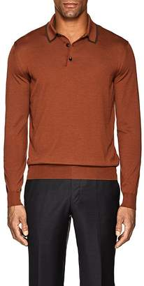 Ermenegildo Zegna Men's Wool-Silk Long-Sleeve Polo Shirt