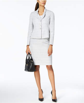 Le Suit Bow-Collar Skirt Suit, Regular & Petite