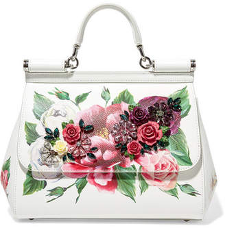 Dolce & Gabbana Sicily Medium Embellished Printed Textured-leather Tote - White
